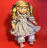 PORCELAIN DOLL EMERALD DOLL COLLECTION CRYING BLONDE HAIR BLUE EYED GIRL VINTAGE