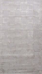 Contemporary MULTI SQUARY GRAY/ SILVER  Hand-tufted Wool/ Silk Modern Carpet 5x8