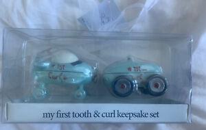 NIB Baby Essentials Airplane & Car Baby Boy First Tooth & Curl Keepsake Box Set