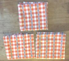 3 Vintage Orange White Plaid Check French Belgian Dutch Kitchen Curtains Drapes