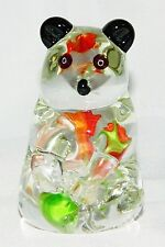 Panda Bear Art Glass Murano Style Figurine Mid Century Figure Paperweight Vtg