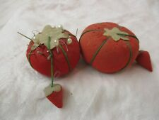 Vintage Japan 2 red Pin Cushions & Strawberry with Hat Pins