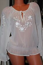 DOROTHY PERKINS  ivory chiffon embroidered boho top blouse  size 12