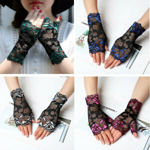 2pcs Sexy Women Lady Thin Sunscreen Hollow Lace Floral Fingerless Gloves Mittens
