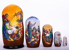 Nativity Russian wooden nesting dolls matryoshka hand-painted 6 1/3 inch 5pcs
