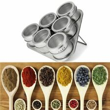 Magnetic Spice Storage Container Jar Tins With Rack Holder Stainless Steel