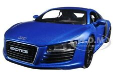 "AUDI R8 SATIN METALLIC BLUE ""EXOTICS"" 1/24 DIECAST MODEL CAR BY MAISTO 32504"