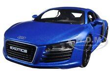 "AUDI R8 SATIN METALLIC BLUE ""EXOTICS"" 1/24 DIECAST MODEL CAR BY MAISTO 32504"