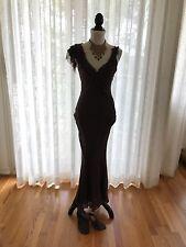 Karen Millen England Women's Fit & Flare Party Cocktail Dress Brown Silk Sz US 4