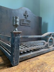 Large Cast Iron Fire Dog Grate The Forge Bridport Dorset Brass Candle Finials