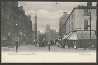 Postcard Newcastle upon on Tyne old Tram shops policeman Blackett Street