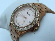 Fossil Ladies Watch Rose Gold Tone Crystal Accents Date Calendar Analog WR 10ATM