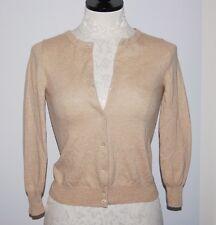 J CREW 100% Cashmere Beige Cardigan Sweater XXS 2XS