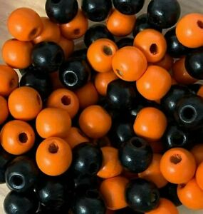 Halloween Beads,  Black and orange mixed wooden round craft , 100 pack 12mm