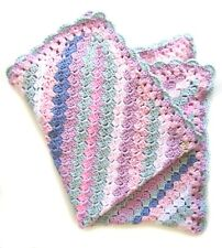 """NEW KSS Hand Crocheted Striped Baby Cotton Blanket 25""""x21"""" Newborn and up BB-093"""