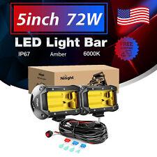 Nilight Led Light Bar 72w 5inch Flood Beam Fog Driving Lamps Off Road Wiring Kit