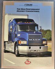 1995 Mack CH600 Truck Brochure Sleeper Cab Semi Tractor Excellent Original 95