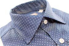 Mens Michael Kors Button Up Dress Shirt 15.5 32/33 Denim White Polka Dot Slim
