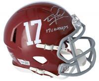 """TUA TAGOVAILOA Autographed Alabama """"17 Champs"""" Speed Mini Helmet FANATICS"""