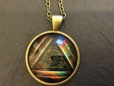MASONIC Pyramid & Eye Illuminati METAL & Glass PENDANT NECKLACE Freemason Mason