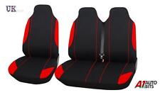 VW TRANSPORTER  T5 2+1 RED BLACK SINGLE+DOUBLE SOFT FABRIC SEAT COVERS