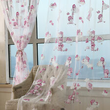Cute Bear Printed Children Kids Boys Girls Voile Sheer Room Curtains Valances