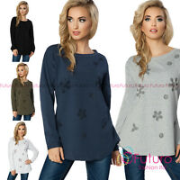 Womens Lightweight Jumper Floral Sequins Top Blouse Tunic Shirt Size 8-14 FT2195