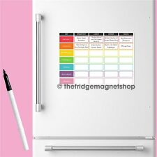 Magnetic Meal Planner Weekly Memo Whiteboard Fridge A4 Dry Wipe Family Prep