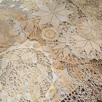 Large Lot of 25 Vintage Hand Crocheted Tatted Lace Doilies Cream Ecru