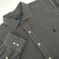 Men Polo Ralph Lauren Black/wht Plaid Oxford Golf Dress Shirt Size 17.5 32/33 XL