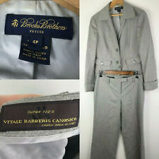 Brooks Brothers Vitale Barberis Canonico Suit Womens 4P 4 Petite Gray Wool dk