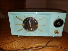 Vintage Westinghouse Model H671T5 Turquoise Colored  Clock/Alarm AM Radio