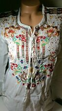 NWT $218 Johnny Was Top Embroidered Peasant Carnation boho blouse XS 2 4