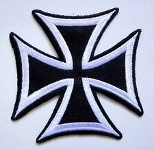 Black & White Iron Cross Motorcycles Embroidered Iron on Patch Free Postage