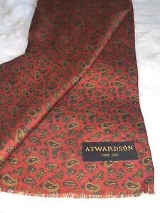Vintage Retro Men's Trendy Pure Silk Mod Patterned Thin  Scarf Atwardson Red