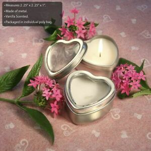 25-200 Silver Shaped Heart Travel Candle Tin - DIY Wedding Party Favors