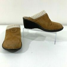 UGG Womens 6 Tan Suede Leather Slip On Mule Slippers Lined Faux Fur Gael Wedge