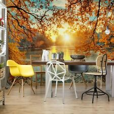 bedroom photo wallpaper Autumn Sunset Lake view 368x254cm Wall mural decor