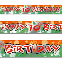 12ft Orange Green Happy 70th Birthday Party Foil Banner Decoration