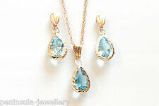 9ct Gold Blue Topaz Teardrop Pendant and Earring Set Gift Boxed Made in UK