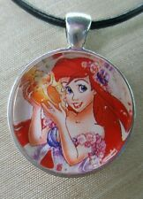 "Disney's The Little Mermaid ""ARIEL"" Glass Pendant with Leather Necklace"