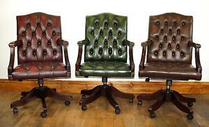 Handmade Chesterfield Leather Gainsborough / Captains Chair