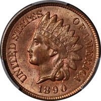 1890 Indian Cent PCGS MS63RB Great Eye Appeal Fantastic Luster
