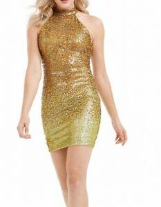 Guess Womens Dress Gold Size XL Sheath Sequined Halter Sleeveless $148 262