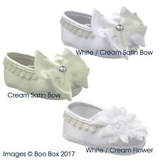 Baby Girls Soft Sole Satin Bow Flower Pram Shoes White Ivory 0-12 Months