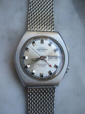 Hau vintage señores reloj de pulsera alarma Automatic acero inoxidable Day date 70er as 5008 rar