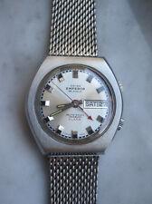 Hau Vintage Herrenarmbanduhr Automatic Alarm Edelstahl Day Date 70er AS 5008