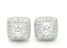 LADIES WOMEN REAL SOLID 925 STERLING SILVER ROUND CUBIC HALO PUSH STUD EARRINGS