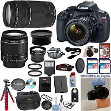 Canon Rebel T5 Camera + 18-55 IS II + 75-300 III + W/A + Tele + 64GB Bundle Kit