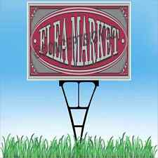 "18""x24"" FLEA MARKET Outdoor Yard Sign & Stake Sidewalk Lawn Sales Rare Antiques"